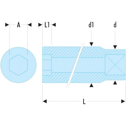 """FACOM R - Steckschlüssel 1/4"""", 6-Kant, metrisch - 2"""
