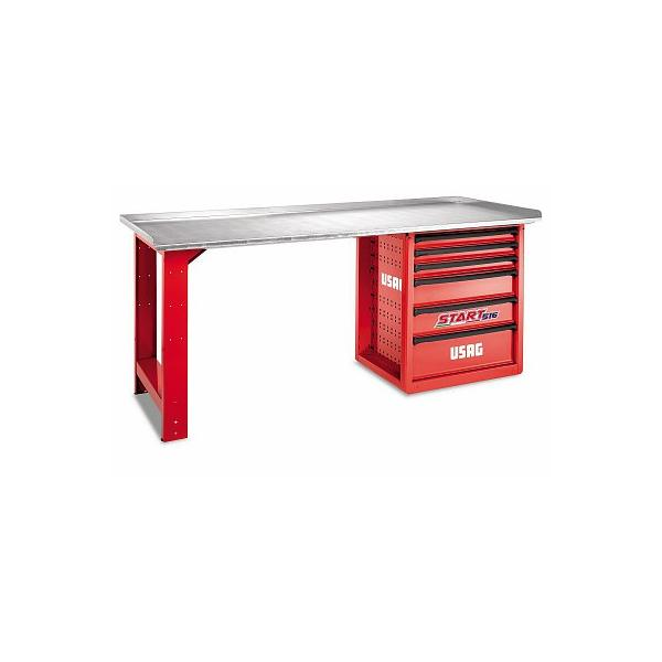USAG START WORKBENCH WITH STAINLESS SHEET STEEL TOP 6 DRAWERS - 1