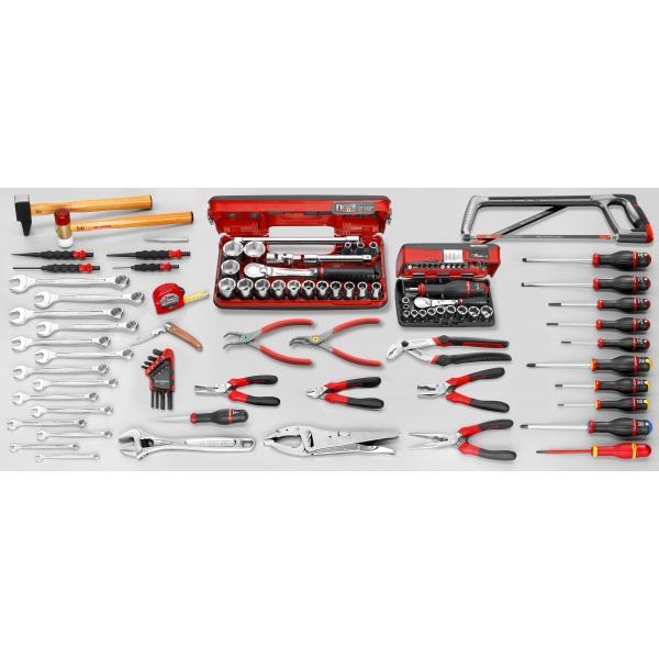 FACOM Sortiment CM.110A mit Werkzeugkasten mit 5 Fächern BT.11A (123 sts) - 1