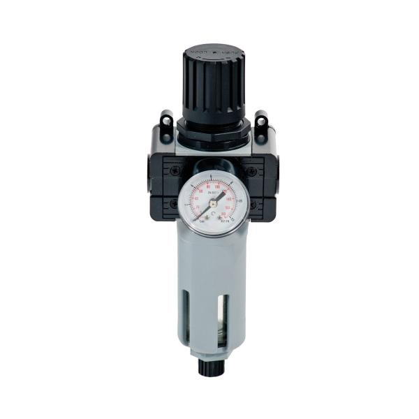 """MECLUBE Pressure regulator with filter and gauge Inlet – outlet connection F 1/4"""" - 1"""