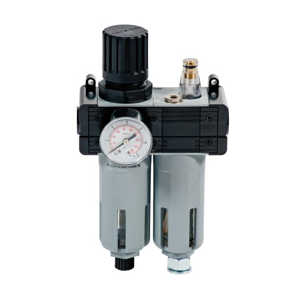 """MECLUBE Pressure regulator with filter, lubricator and gauge Inlet – outlet connection F 1/4"""" - 1"""