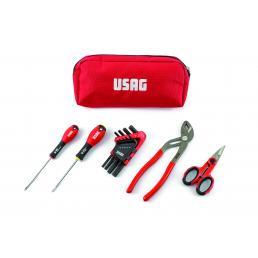 USAG Werkzeugtasche mit Schraubendreher, Schlüssel, verstellbare Zange und Schere (13 St.) - 1