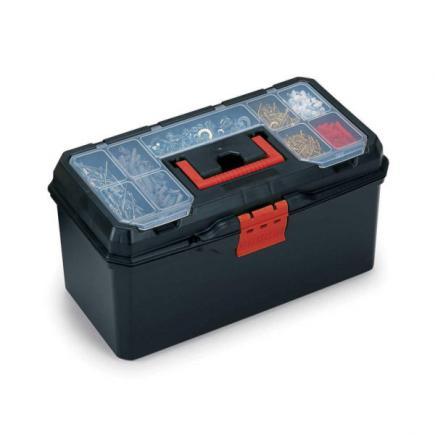 TERRY Wekzeugkoffer mit einem Werkzeugträger und einem Kleinteilmagazin im Deckel - Shwarz/Rot - 1
