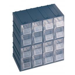 TERRY Schubladenbox für Kleinteile mit Etikettenhalter 16 Schubladen 20,8x13,2x20,8 - 1