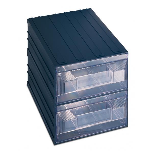TERRY Schubladenbox für Kleinteile mit Etikettenhalter 2 rechteckige Schubladen 24,9x36,6x25 - 1