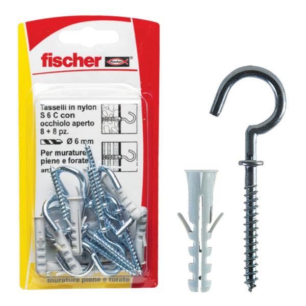 FISCHER Nylon plug with short hook S 6 C/8 K - 1