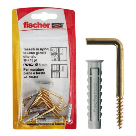 FISCHER Nylon fixing with hook white in blister SX 4 G K - 1