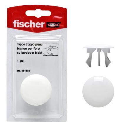 FISCHER Overflow cap hole white on sinks and bidets TTP K - 1