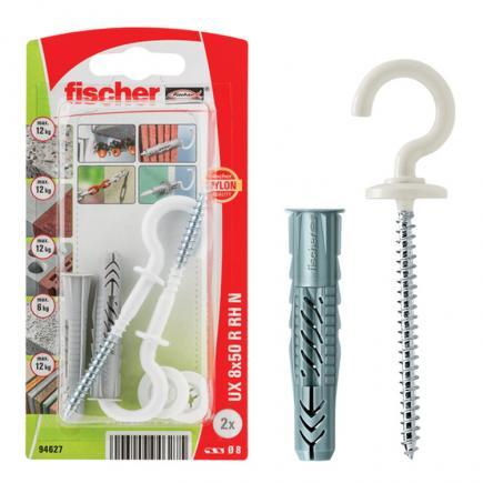 FISCHER Universal plug with rim and round hook UX R RH - 1