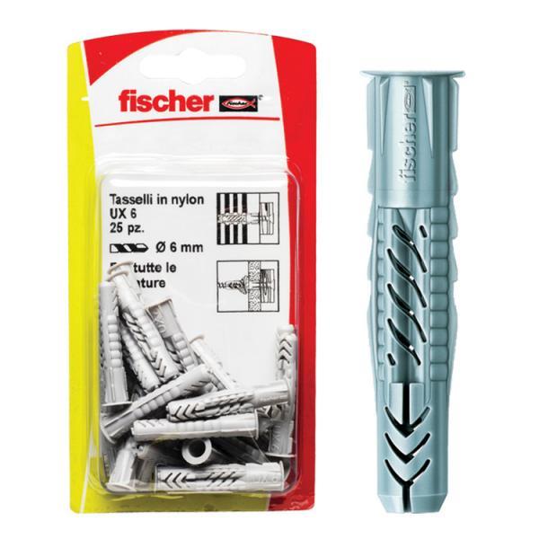 FISCHER Universal nylon plug in blister UX K - 1