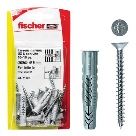 FISCHER Universal nylon plug with screw in blister UX S K - 1