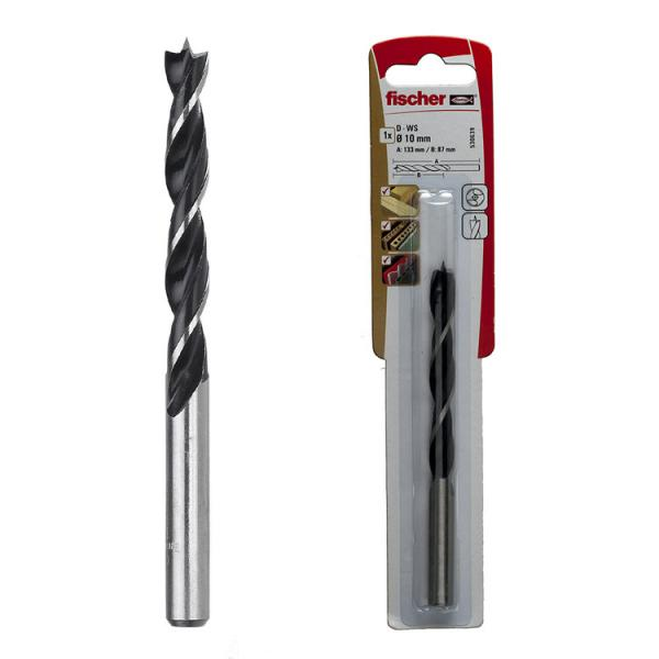 FISCHER Drill bit in steel for wood with centering device and cylindrical attachment in blister PL K - 1