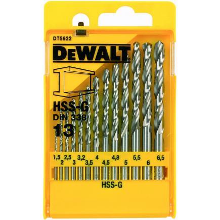 DeWALT 13-tlg HSS-G Bohrer- Satz in Metall-Kassette - 1