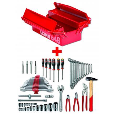USAG Werkzeugkasten 646-3V mit Werkzeugsortiment (66-tlg) - 1