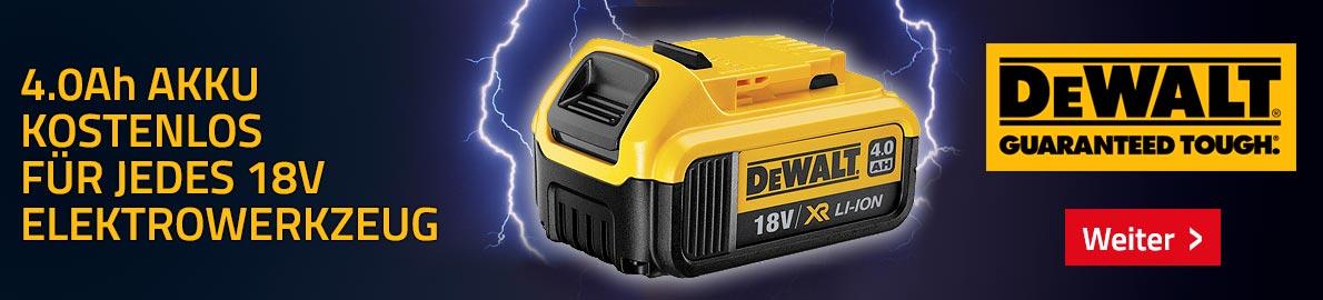 DeWalt Promo:4.0 Ah Akku kostenlos für jedes gekaufene 18V Elektrowerkzeug
