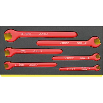 STAHLWILLE Single ended open jaw spanners VDE 6 pcs. in TCS inlay - 1