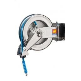 """MECLUBE Stainless steel hose reel AISI 304 swivelling FOR WATER 150° C 400 bar Mod. SX 400 WITH HOSE 10 m  ø 1/2"""" - 1"""
