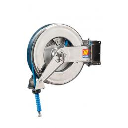 """MECLUBE Stainless steel hose reel AISI 304 swivelling FOR WATER 150° C 400 bar Mod. SX 460 WITH HOSE 15 m  ø 3/8"""" - 1"""