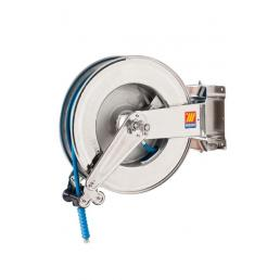 """MECLUBE Stainless steel hose reel AISI 304 swivelling FOR WATER 150° C 400 bar Mod. SX 550 WITH HOSE  20 m  ø 3/8"""" - 1"""