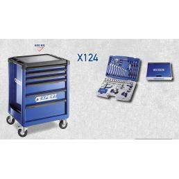 EXPERT X124 tool cart, 6 drawers, with 124 tools - 1