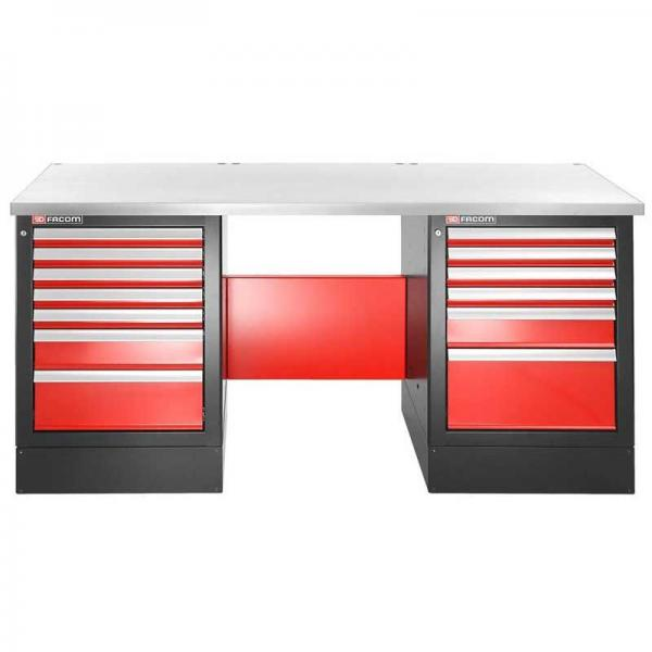 FACOM Heavy-duty workbench 2182 mm - 13 drawers - stainless steel worktop - high version - 1