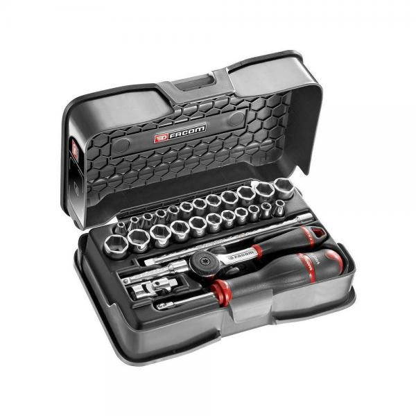 """FACOM 28-piece 1/4"""" metric and inches 6-point sockets set - 1"""