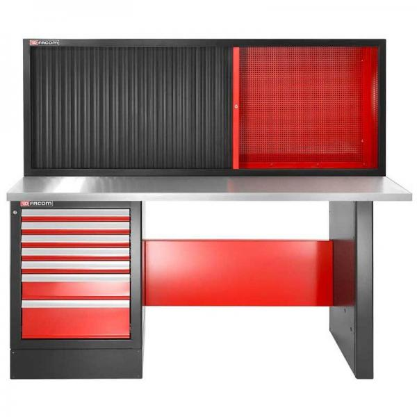 FACOM Heavy-duty workbench 2182mm - 7 drawers - stainless steel worktop - high version and shutter cabinet - 1