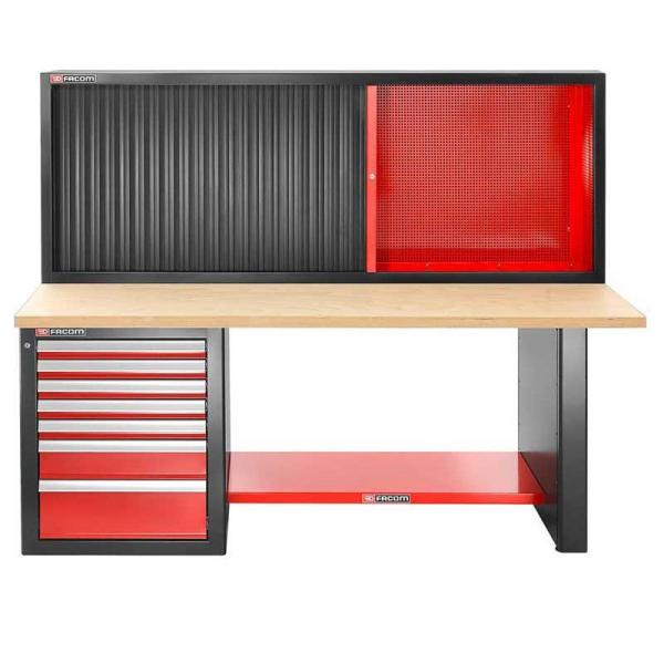 FACOM Heavy-duty workbench 2182 mm - 7 drawers - wooden worktop - low version and shutter cabinet - 1