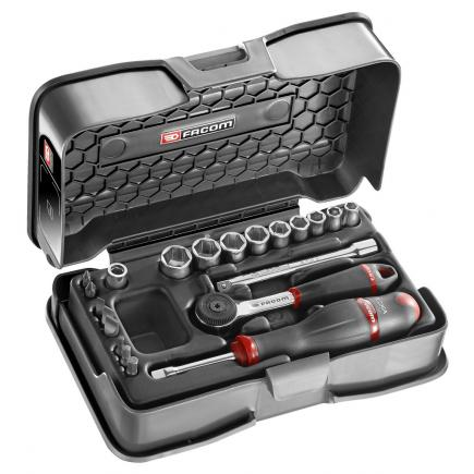 """FACOM 21-piece 1/4"""" metric 6-point sockets and bits set - 1"""