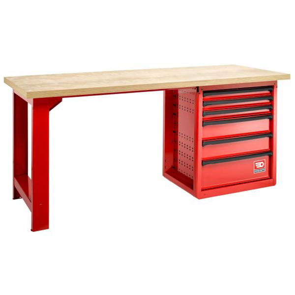 FACOM Maintenance workbench – 6 drawers, wooden top, 2 m - 1