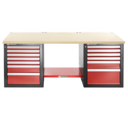 FACOM Heavy-duty workbench 2182 m - 13 drawers – upper worktop in wood - low version - 1