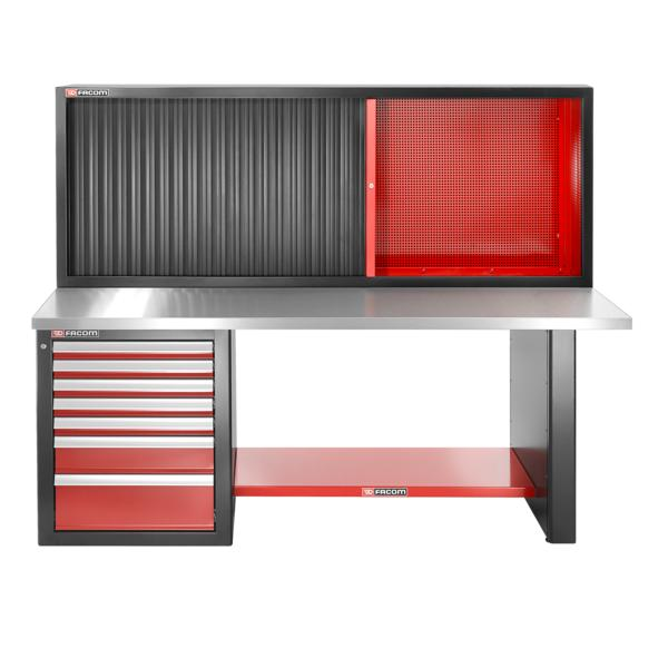 FACOM Heavy-duty workbench 2182 mm - 7 drawers – stainless steel upper worktop - low version and shutter cabinet - 1
