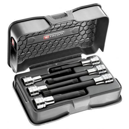 "FACOM 6-piece set of 1/2"" long-reach and extra long-reach XZN® screwdriver sockets - 1"