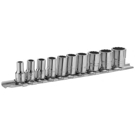 """FACOM Set of 1/4"""" long-reach 12-point sockets – metric – 10 pieces – on holder - 1"""