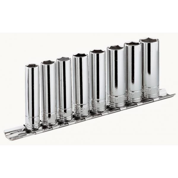 """FACOM Set of 1/4"""" long-reach 12-point sockets – metric – 5 pieces – on holder - 1"""