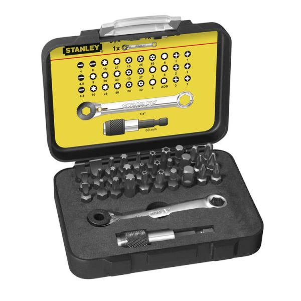 """STANLEY Set 2 of 32 1/4"""" Drive Bits (25mm) + 1 Magnetic Bit Holder with Lock-Ring - 1"""