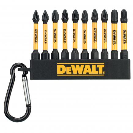 DeWALT Set n. 10 Flex Torq 50mm Pozidriv inserts + carabiner (50 pcs) - 1