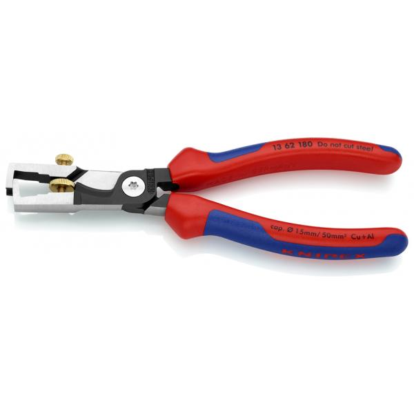 KNIPEX StriX® Insulation strippers with cable shears black atramentized, head polished, handles with multi-component grips - 1
