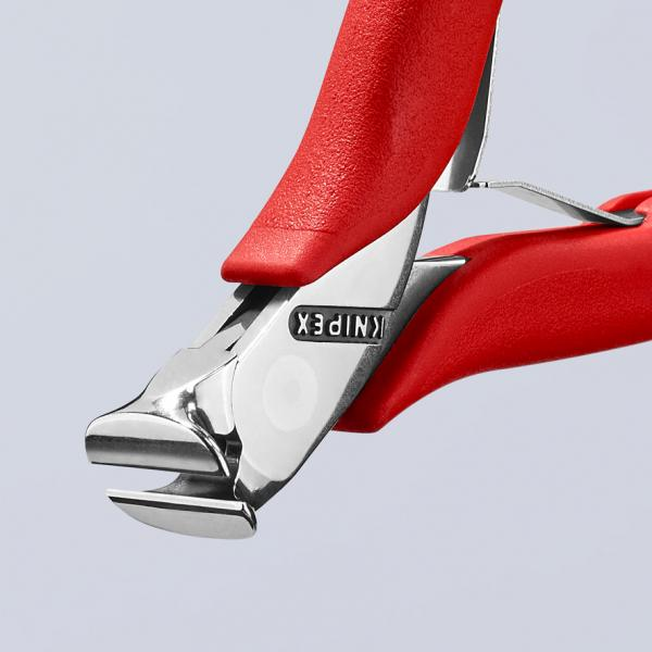 KNIPEX Electronics End Cutting Nipper head mirror polished, handles plastic coated - 1