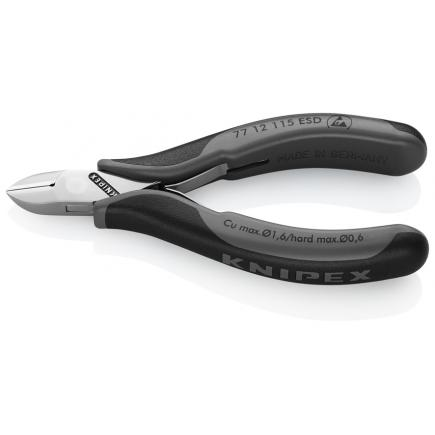 KNIPEX Electronics Diagonal Cutter head mirror polished, handles with multi-component grips, round head ESD - 1