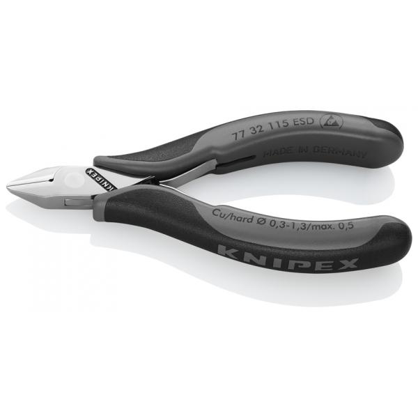 KNIPEX Electronics Diagonal Cutter head mirror polished, handles with multi-component grips, pointed head, with small bevel ESD - 1