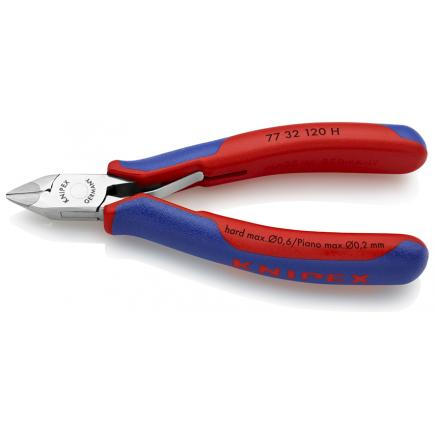 KNIPEX Electronics Diagonal Cutter with carbide cutting edges head mirror polished, handles with multi-component grips, pointed head with chamfer - 1