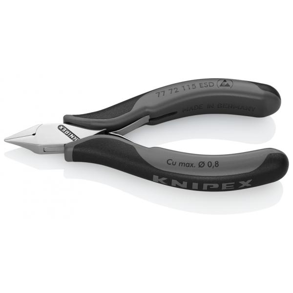 KNIPEX Electronics Diagonal Cutter head mirror polished, handles with multi-component grips, pointed mini-head, with small bevel ESD - 1