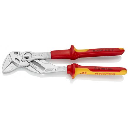KNIPEX Pliers and a wrench in a single tool chrome plated, handles insulated with multi-component grips, VDE-tested - 1