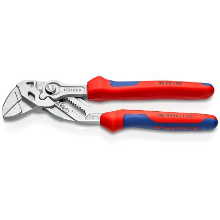 KNIPEX Pliers and a wrench in a single tool chrome plated, handles with multi-component grips, extra narrow gripping jaws - 1