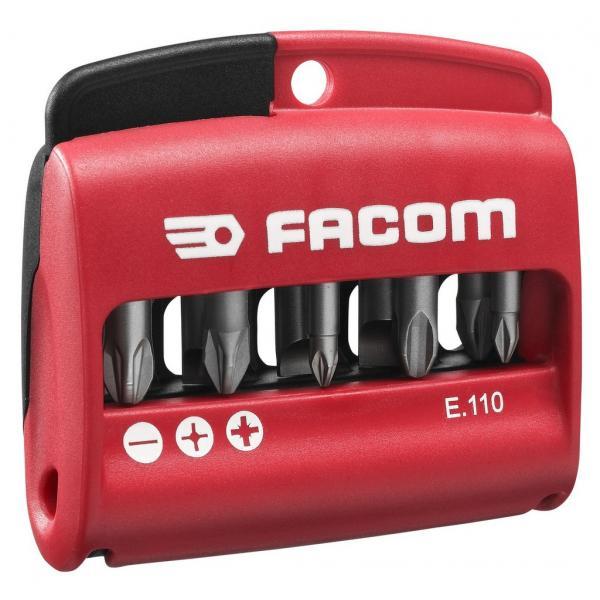 """FACOM Combined set of 10 bits 1/4"""" - 25 mm + bit holder - No.1 - 1"""