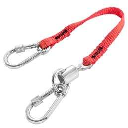 FACOM Lanyard 20 cm  Stainless steel 50 mm spring hook + swivel and 60 mm stainless steel snap hook with screw  SLS - 1
