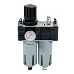 """MECLUBE Pressure regulator with filter, lubricator and gauge Inlet – outlet connection F 1/2"""" - 1"""