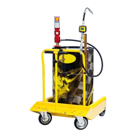 MECLUBE Wheeled oil set suitable for barrels of 180 220 l Air operated oil pump Mod.605 ratio 5:1 Delivery capacity 28 l/min - 1