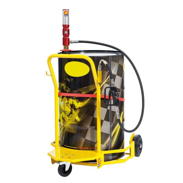 MECLUBE Wheeled oil set suitable for barrels of 180–220 l Mod.501 ratio 1:1 Delivery capacity 35 l/min Oil dispensing nozzle - 1